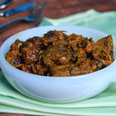 Baingan Methi Subzi -- eggplant with fenugreek -- is a fiesty Indian side of eggplant with mustard seed, curry leaves, chickpea flour and mango powder.