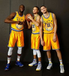 Draymond Green, Stephen Curry and Klay Thompson