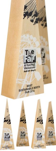 Simple and modern awards for a local fair here in British Columbia. Handcrafted from recovered Maple hardwood.