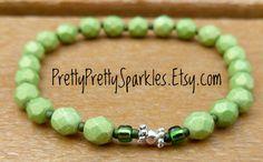 Avocado Pacifica 6mm beaded women's elastic bracelet - stretchy bracelet - stretchy women's bracelet - green beaded bracelet - girl gift