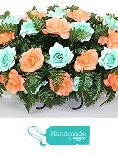 XL Beautiful Aqua Roses and Peach Roses Cemetery Tombstone Saddle Arrangement from Crazyboutdeco Deco Mesh Wreaths,Cemetery Arrangements https://www.amazon.com/dp/B01N4HJBQM/ref=hnd_sw_r_pi_dp_8rDWybSZKPT1R #handmadeatamazon