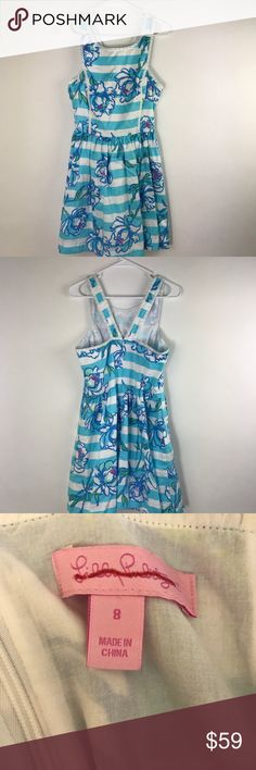 "Lilly Pulitzer Dress Sandrine Line Pearl Detail Sz 10   Sandrine Shorely Blue Tossing The Line Pearl Detail  Style 51996  100% Cotton Measurements are approximate  Underarm to underarm-17"" Length-26"" Waist-14"" UU8 Lilly Pulitzer Dresses"