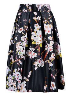 Black Sakura Print Sliky Midi Skater Skirt good place if your size 12 and under