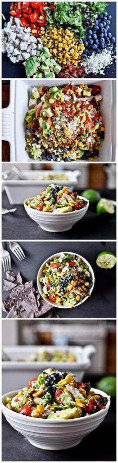 Summertime Grilled Corn, Chicken & Blueberry Chopped Salad with Honey-Lime Vinaigrette - the original recipe is from How Sweet it Is, but this particular photo montage came from Recipe Sweet (they showed all the photos from the original recipe in one posting)...