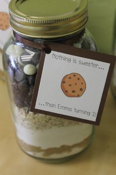 Closeup of cookies and milk party favor
