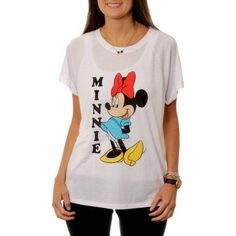 Disney Women's Minnie Mouse Cartoon Hi-Lo Graphic T-Shirt, Size: Small, White