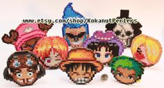 One Piece Straw Hat Pirates Bead Perler Coasters by KokanutPerlers
