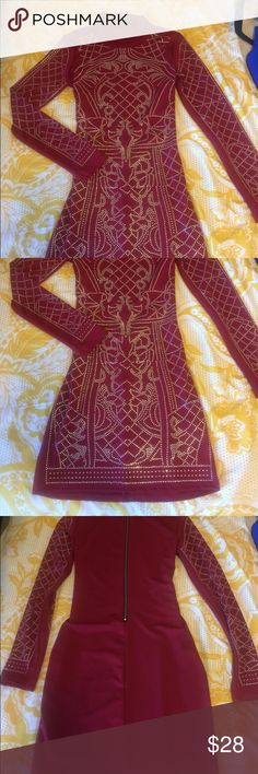Sparkly studded dark red dress. Never worn! Long sleeve sexy dress with a small mock turtle neck and sparkly above the knee dress. Dresses Long Sleeve