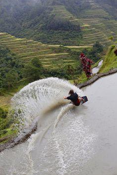 Brian Grubb wakeskating Philippine rice terraces. Image: Daniel Deak Bardos/Sophia Langner