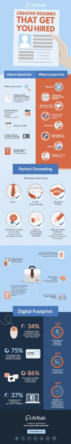 Creative Resumes That Get Your Hired | Artisan Talent | INFOGRAPHIC  Get your dream job and we will help you travel the world for little to no money http://recruitingforgood.com/