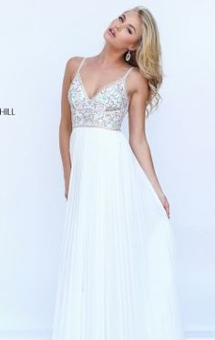 Beaded Plunging Neckline Gown by Sherri Hill 50432