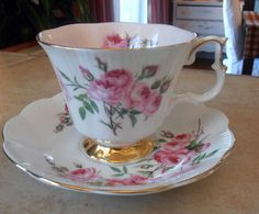 Fancy Royal Albert Tea Cup & Saucer Set Bridesmaid Roses PINK Interior Gold Foot