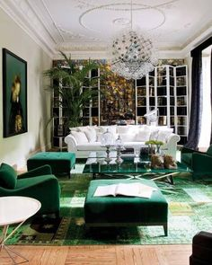 Emerald Green is the color of the year- trending is an understatement. This room looks so beautiful and tasteful and vibrant!