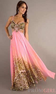 Dress, prom, printed, pink