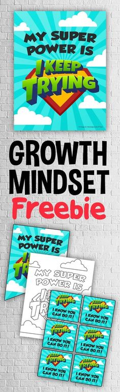 Grab this FREE classroom growth mindset poster, banner, coloring page and teacher notes to keep your Superhero Classroom, Classroom Themes, School Classroom, Classroom Activities, Classroom Meeting, Superhero School, Superhero Kids, Classroom Environment, Stem Activities