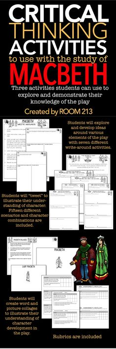 MACBETH: Three activities that your students can use to explore and demonstrate their knowledge of the play.