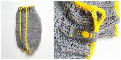 knitted&crochet legwarmers,  grey wool/ yellow cotton yarn