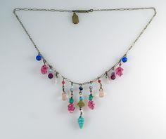 Vintage Pididdly Links Art Nouveau Revival Multi Color Glass Drops Necklace #PididdlyLinks #StrandString