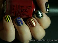 Hogwarts house colors themed nail art.  Nerdy/cute!  #potter