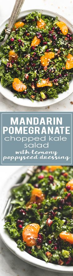 Mandarin Pomegranate Chopped Kale Salad with Lemony Poppyseed Dressing is a great side dish for any meal and a perfect winter salad | lecremedelacrumb.com