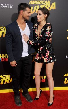 Taylor Lautner & Kristen Stewart from Movie Premieres: Red Carpets and Parties!  The Twilight co-stars reunite on the American Ultra red carpet in Hollywood.