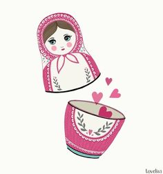 Cute Russian Doll illustration. The pink and white doll is open and love hearts are floating out.