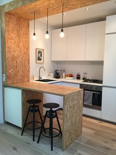 Plywood floating vanity interiors mid century and for Appartement 35m2 design