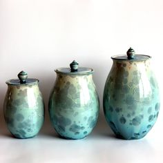 Canister Set in Aqua by BrennaDeeCeramics on Etsy