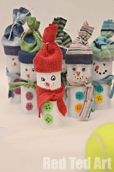 Oh these guys crack me up - a fun game of Snowman Bowling (add numbers to the backs and you can incorporate some counting and adding practice) made from old socks and tp rolls! Just brilliant. We love these guys!!!