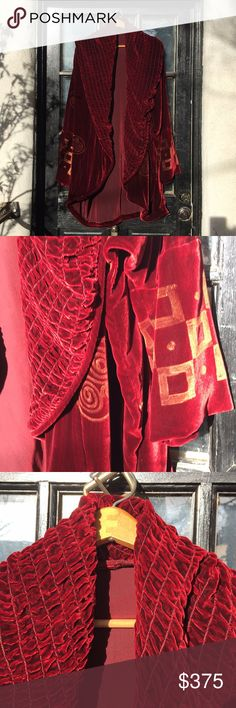 SuperFabulous Silk Velvet Designer Coat/handpaint Elegant  Rich Red Silk Velvet hand painted with Gold from Catherine Bacon. Very rare. 36 Inches from Back Neck To Bottom Sleeves 32 Inches From Neck To wrist. Vintage gold/silver button with 4 kitty faces. 4th photo is truest color. Enormous quilted and crunched collar Catherine Bacon Jackets & Coats