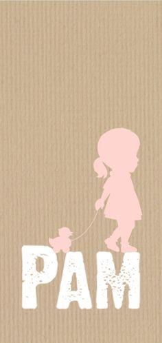 Lief, hip, staand geboortekaartje op kraft met silhouet van meisje van JilleJille.nl. Proefdruk €1,- en verzenden is gratis.