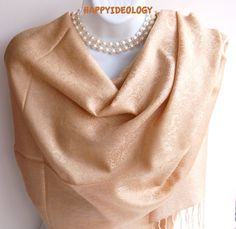 Beige Pashmina Scarf. Beige /Gold by HappyIdeology on Etsy