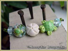 Sea Turtle Ocean Lampwork Bead Set by moonrakerbeads on Etsy, $25.00