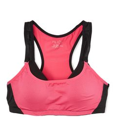 Love this Pink & Black Two-Tone Push-Up Sports Bra - Plus by r.bryant on #zulily! #zulilyfinds