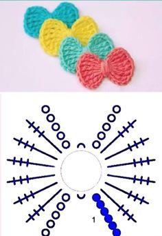 Some easy bows to make ❤❤ gemakkelijke strikjes om te haken Crochet Bows, Crochet Flower Patterns, Crochet Stitches Patterns, Crochet Flowers, Knit Crochet, Crochet Slippers, Crochet Diagram, Crochet Chart, Crochet Motif