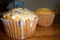 Banana Chocolate Chip Muffins with Simple Glaze