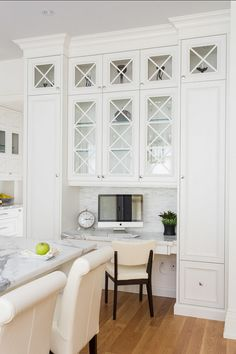 Kitchen Workstation, white & glass cabinets