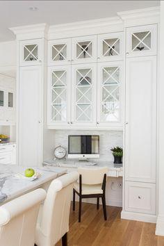 Kitchen Workstation, white & glass cabinets