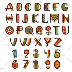 African ethnic primitive font from microvector to the creative market - Pinim. African Logo, African Art, Mexican Fonts, Alphabet Art, Alphabet Style, Drawing Letters, Creative Lettering, Tips & Tricks, Thinking Day