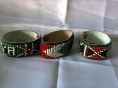 Kenya Masai bracelets-A collection of 3 leather beaded bracelets  from Kenya AO1 #Unbranded