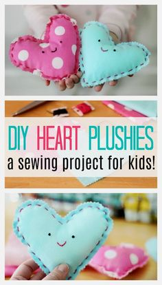 Looking for an easy sewing project for kids? Look no further! These heart plushies come together quickly and are SO CUTE and easy to customize! Projects for kids Beginning Sewing Project For Kids: Make a Heart Plushie! Sewing Hacks, Sewing Tutorials, Sewing Crafts, Sewing Tips, Sewing Ideas, Sewing Lessons, Love Sewing, Sewing For Kids, Hand Sewing