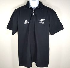 ADIDAS New Zealand All Blacks Rugby Jersey Polo Shirt - MEDIUM M - Black 2000-02 #adidas #NewZealandAllBlacks