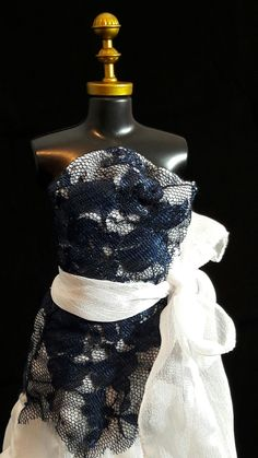 Vestido Azul e Branco #boneca #barbie #vestido #dress #doll #white #branco #azul #blue