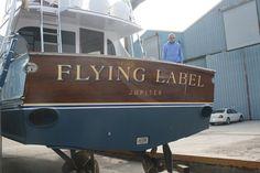 #TRANSOM: Flying Lable, Jupiter #Boat #Transom #BoatTransom  TRANSOM #TECHNIQUE: #GoldLeaf   #BOAT #BUILDER #BoatBuilder: #SpencerYachts , #NorthCarolina