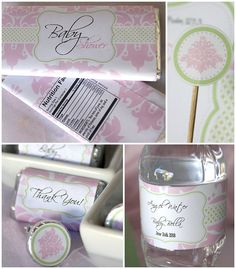 Pink Damask Baby Shower   Baby Girl Pink and by PressPrintParty, I love this so much. Happy I have friends having babies.