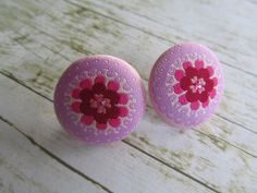 Pink Button Earrings Button Earrings Post by BrownBeaverBeadery