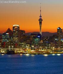 Auckland city skyline and Skytower