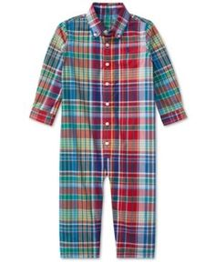 Ralph Lauren Plaid Cotton Coverall, Baby Boys (0-24 months) - -Red Multi 12 months