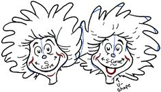 How To Draw Thing One And Two From Dr Seuss The Cat In
