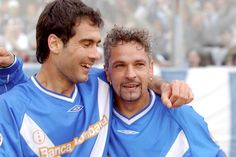 Pep Guardiola with Roberto Baggio